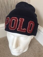 Polo Ralph Lauren Hunter Navy & vin Chenille Varsity Bonnet Bnwt Détail £ 63