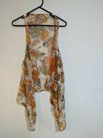 Diana-Ware Women's Vest Cover Up One Size Boho Tassel Orange Floral Sheer