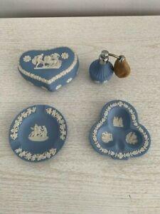 Wedgwood Jasperware Blue Vanity Set Collection 4 Item Set