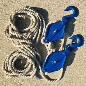 Vintage Nautical Dock Rope With Pulleys Heavy Duty Coastal Home Decor Yacht Blue