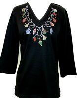 PLUS 1X Knit Top Embellished Rhinestone & Stud Christmas Lights & Ornaments