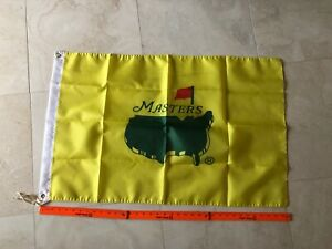"Yellow 2021 Masters Stadium Flag 23"" x 36"" Tiger Woods PGA Augusta National"