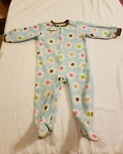 CARTER'S BABY GIRL'S Fleece STRETCHIE SIZE 18M Blue Multicolor FLOWERS