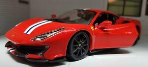1:24 Echelle Ferrari 488 Pista Rouge Détaillé Superbe Voiture Miniature Burago