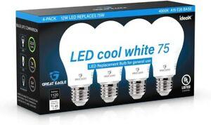A19 LED Light Bulbs 75 Watt Equivalent LED Bulbs, Cool White 4000K, 1050 Lumens