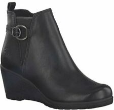 Black Wedge Ankle Boot Leather Marco Tozzi Round Toe Buckle Detail