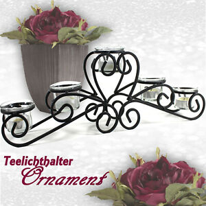 KERZENSTÄNDER Ornament Kerzenhalter Metall schwarzTeelichthalter Teelicht ü5ü