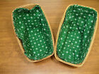 Longaberger 1998 Small Vegetable Sleigh Basket w/Green Cloth Liner Lot of 2