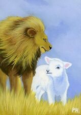 ACEO, PRINT, LION, LAMB, EASTER