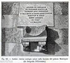 LARINO: Orologio Solare. Campobasso.Contado di Molise.Sannio. Stampa Antica.1899