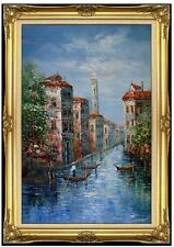 Framed Hand Painted Oil Painting Venetian Waterway and Gondolas 24x36in