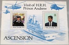 ASCENSION 1984 Block 14 S/S 349 Visit Prince Andrew Helicopter War Ship MNH