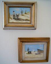 1950s LOT of 2 Maxine Parsons Desert  Old West Landscape Oil Framed Man & Mule