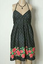 H&M Kleid Gr. 38 grau kurz/mini Baumwolle Empire Neckholder Kleid mit Rosen