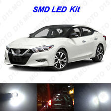11 x White LED Interior Bulbs + License Plate Lights for 2016 2017 Nissan Maxima