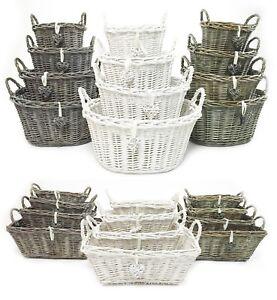 White Grey Strong Shabby Chic Baby Nursery Easter Egg Hamper Storage Basket