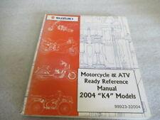 """Suzuki 2004 """"K4"""" Motorcycle & Atv Ready Reference Manual P/N 99923-32004"""