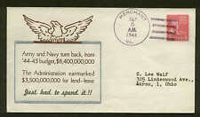 WWII PATRIOTIC -ARMY & NAVY BUDGET UNSPENT  9/5/44  LINTO SHERMAN #695