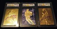 """KOBE BRYANT 1996-97 AUTOGRAPHED WCG GEMMT 10 23KT GOLD ROOKIE """"3"""" CARD LOT"""