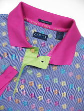COMO MENS LARGE CASUAL GOLF POLO SHIRT STYLISH BLUE PINK DIAMOND MADE IN ITALY