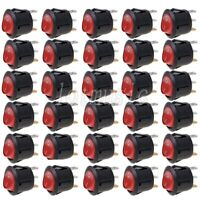 30* NEW Round Red 3 Pin SPST ON-OFF Rocker Switch With Neon Lamp