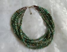 SILPADA .925 SS  6-Strand Green Howlite & Bronze Seed Beads Necklace N1535