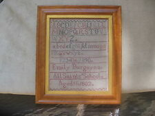 Antique 19th Century Alphabetic Sampler dated 1882
