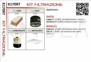 KIT 4 FILTRI RENAULT CLIO V CAPTUR DACIA SANDERO II 1.5 dCi 2013>
