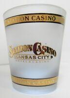 Kansas City Station Casino Gold Trim Frosted Shot Glass Vintage