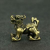 Chinese Antique Brass Lion Statue Small Xmas Pocket Gift Good Luck Collectibles