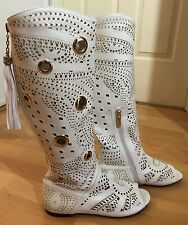 White Cut Out 2 Zip Gold Grommets Tassles Knee High Womens Boots Size 6.5 - 7