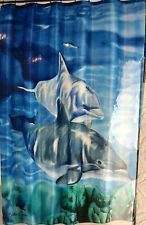Dolphins by Mainstays Shower Curtain Set with Bath Rug and Hooks NEW