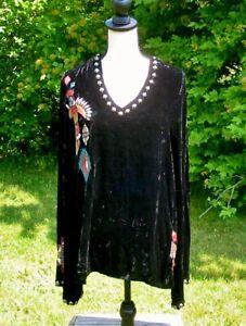 Double D Ranch Black Velvet Ritual Dance Embroidered Top Tunic EUC $338 XL