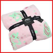 CityComfort Unicorn Blanket for Girls Glow in the Dark Blankets Stars Unicorns