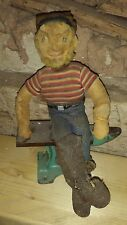 Early Cloth Antique Doll Primitive Folk Art Sailor/ Lumber Jack ? RARE Old Guy