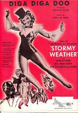 """STORMY WEATHER Sheet Music """"Diga Diga Doo"""" Lena Horne Cab Calloway"""