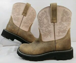 Ariat 4LR FATBABY Womens 6B Cowboy Western Short Boots Brown Leather Blush Pink