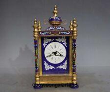 "9"" Europe Retro Pure Bronze cloisonne Mechanical Clockwork Table Clock Timepiece"