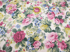 Ivory & Pink Vintage Floral 100% Cotton Curtain Edinburgh Weavers Fabric.