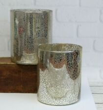 Pair (2) Mercury Silver Glass Decor Hurricane Pillar Candle Holder Large 5.5""