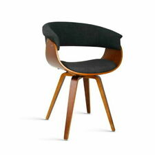 Artiss BA-TW-8628-CH Timber Wood and Fabric Dining Chair - Charcoal