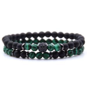 Men High Quality Black Cubic Zirconia Ball Natural Matte Onyx Charm Bracelet Set