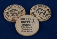 Vintage Lot of 3 Wooden Nickel Miller's Buffalo Ranch Advertising