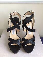 NIB $795 Jimmy Choo Vamp Glitter Coated Leather Platform Sandals Black Size 7.5