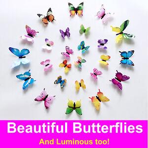 12 x 3D Luminous Butterfly Wall Stickers Home Decor Sticker Bedroom Girl