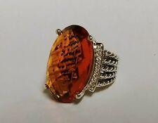 David Yurman Ring Wheaton Citrine Oval Sterling Silver Cable 16x26 Fine Jewelry