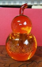 BEAUTIFUL TITTOT CRYSTAL ART GLASS, AMBER PEAR SHAPE CONTAINER WITH LID