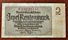 1937 OLD GERMANY 2 RENTENMARK  BANKNOTE , GOOD....