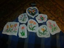 Vintage Homemade Lilly Flowers Embroidery Remnant Patch Lot Of 8 Unique