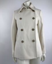 J Crew Womens Medium Ivory Pea Coat Wool Blend Lined Classic